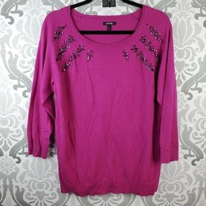 Apt 9 fuchsia embellished sweater